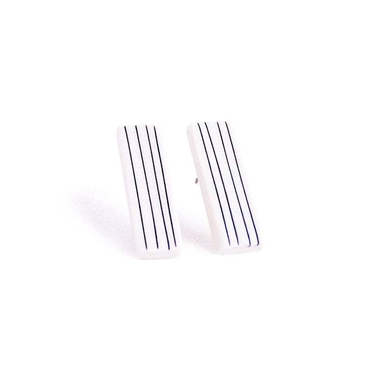 Pinstripe Bar Earrings - Vertical Stripes - Jenna Vanden Brink Ceramics