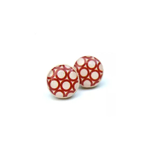 Red Geometric Wooden Stud Earrings - Starlight Woods