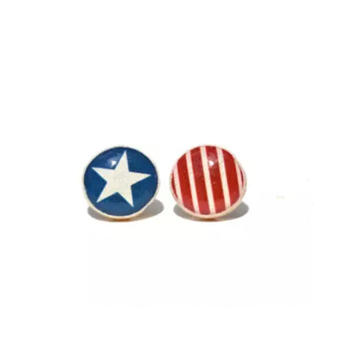 Stars and Stripes Wooden Stud Earrings - Starlight Woods