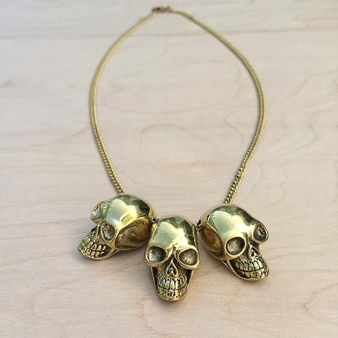 Three Skulls Brass Necklace - Monserat de Lucca