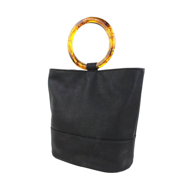 Tortoise Shell Ring Tote - Black - Street Level