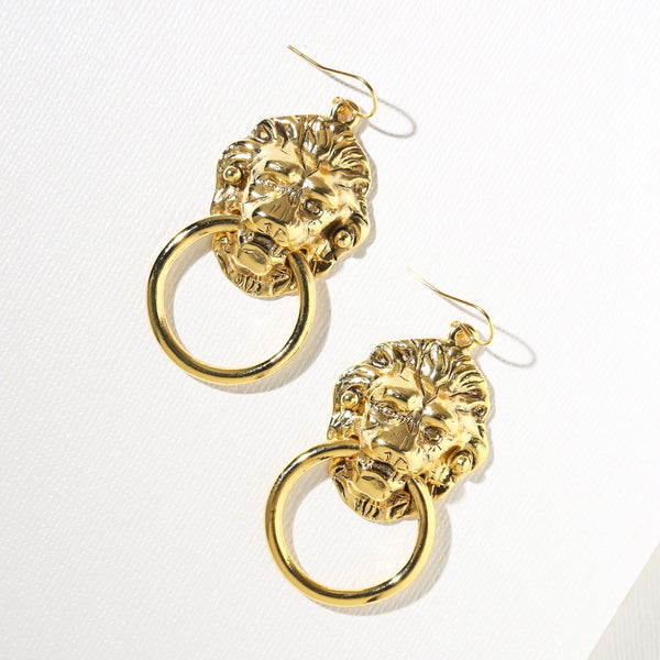 Vanessa Mooney Vandal Small Door Knocker Gold Earrings