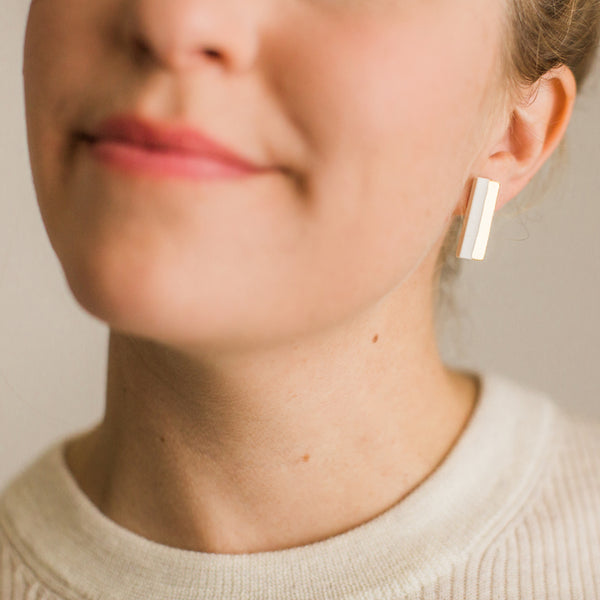 Vertical Gold Stripe Bar Earrings - Jenna Vanden Brink Ceramics