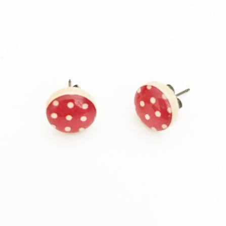 White on Red Polka Dot Wooden Stud Earrings - Starlight Woods