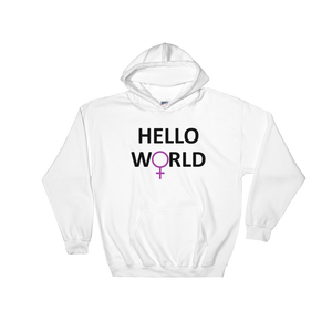 Hello World - Hooded Sweatshirt (Black Print)