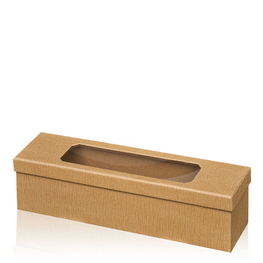 """Passepartout Natural Crepe paper covered gift box, loose lid and acrylic window"" -  1 er Gift Box"