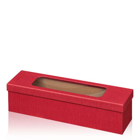 """Passepartout Crepe paper covered red gift box, loose lid and acrylic window"" -  1 er Gift Box"