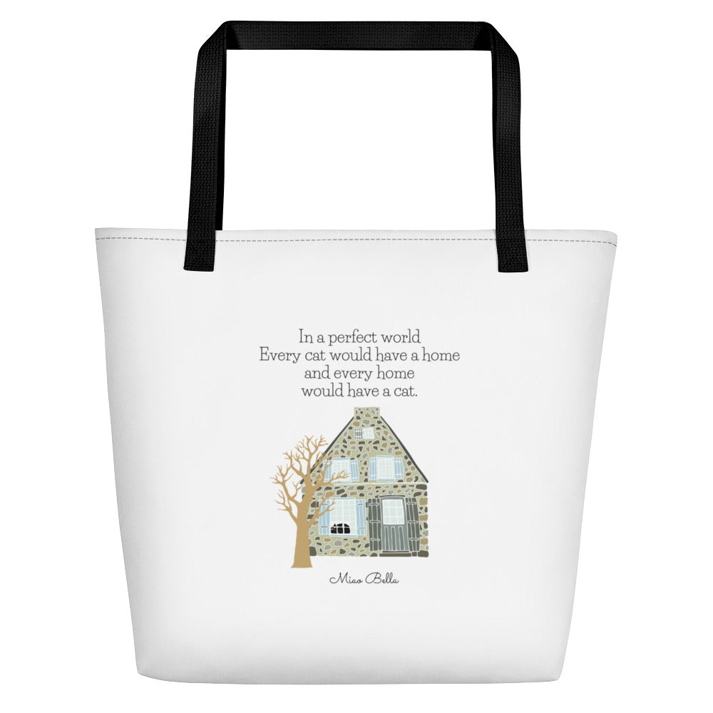 Home Is Where My Cat Is Beach Bag by Miao Bella