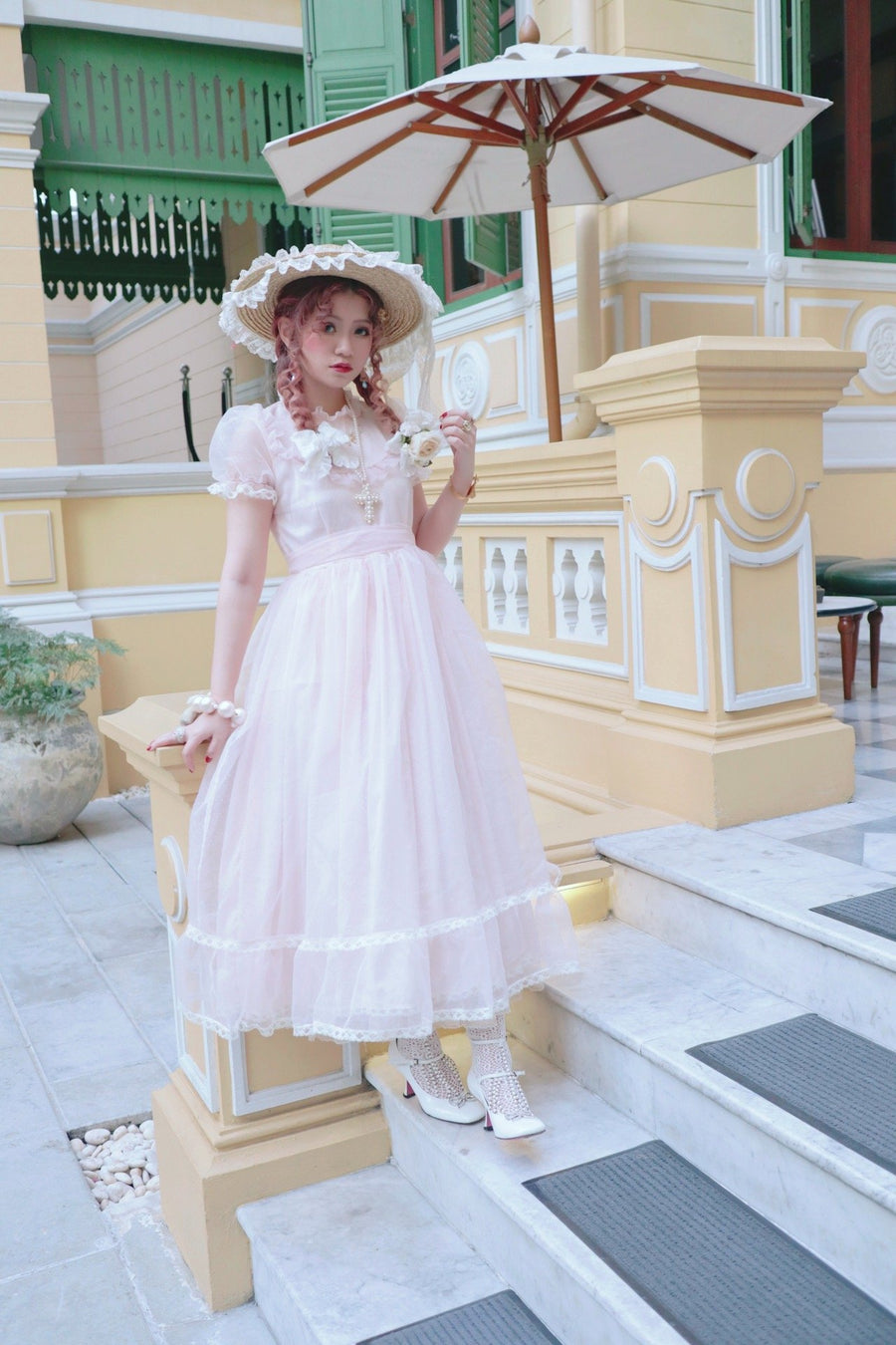 Back to stock! [Premium Selected] Vintage style Pink Polka Dots Organza Gown 'Long Vacation' - Peiliee Shop