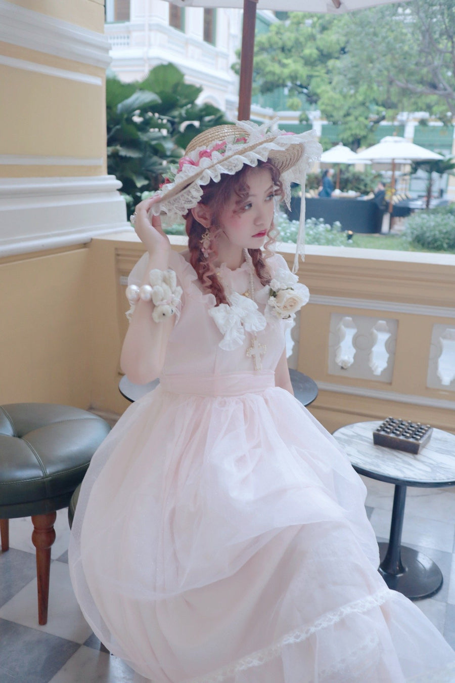 [Premium Selected] Vintage style Pink Polka Dots Organza Gown 'Long Vacation' - Peiliee Shop