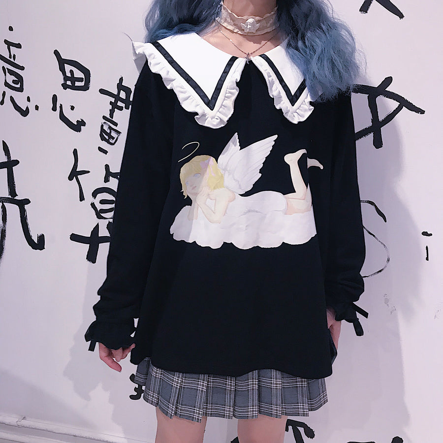 [Sample Sale] You are like an angel sailor babydoll hoodie dress - Peiliee Shop