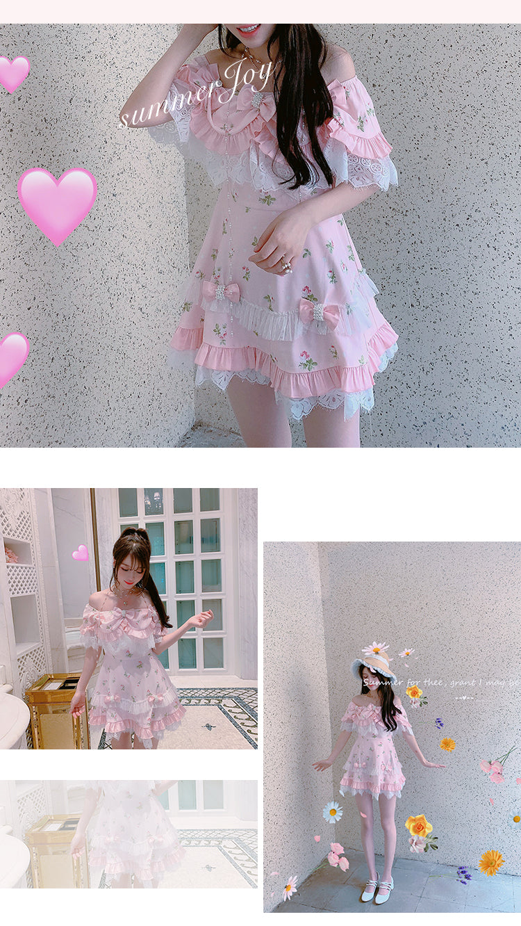 [Exclusive to PeilieeShop] Born like summer flower mini dress - Peiliee Shop