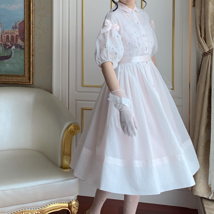 [Premium Selected Brand] 50s Dreamlike cloud flower embroidery dress/outer - Peiliee Shop