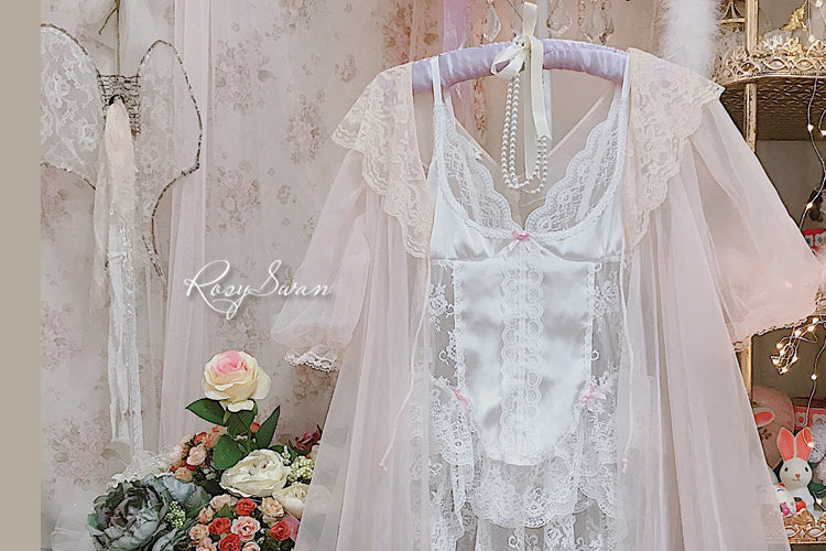 [Premium Selected] Rosaryswan dream ballerina pastel handmade vintage lingeire body dress - Peiliee Shop