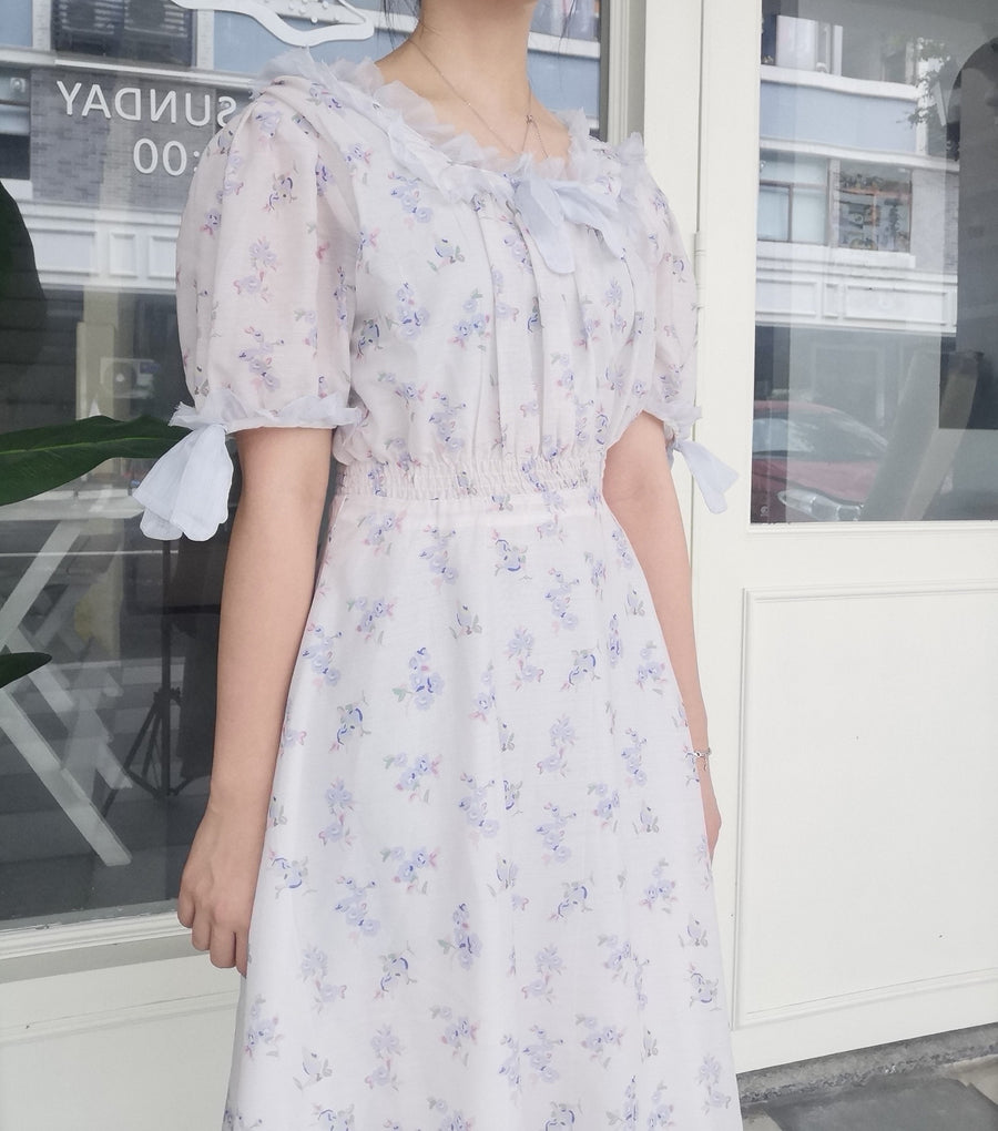 [Premium Selected] Vintage Babydoll Blue Memories Dress - Peiliee Shop
