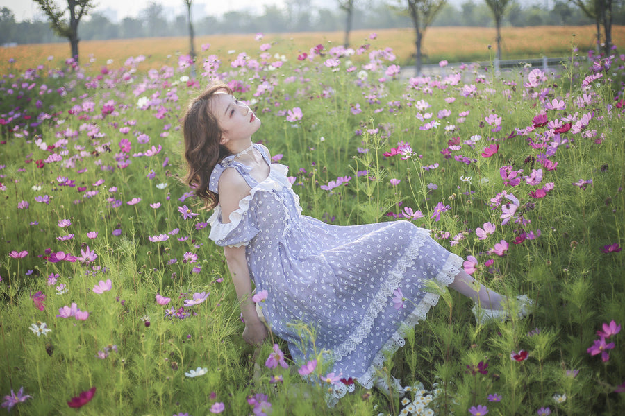 [12 studio] Floral dance chiffon dress - Peiliee Shop