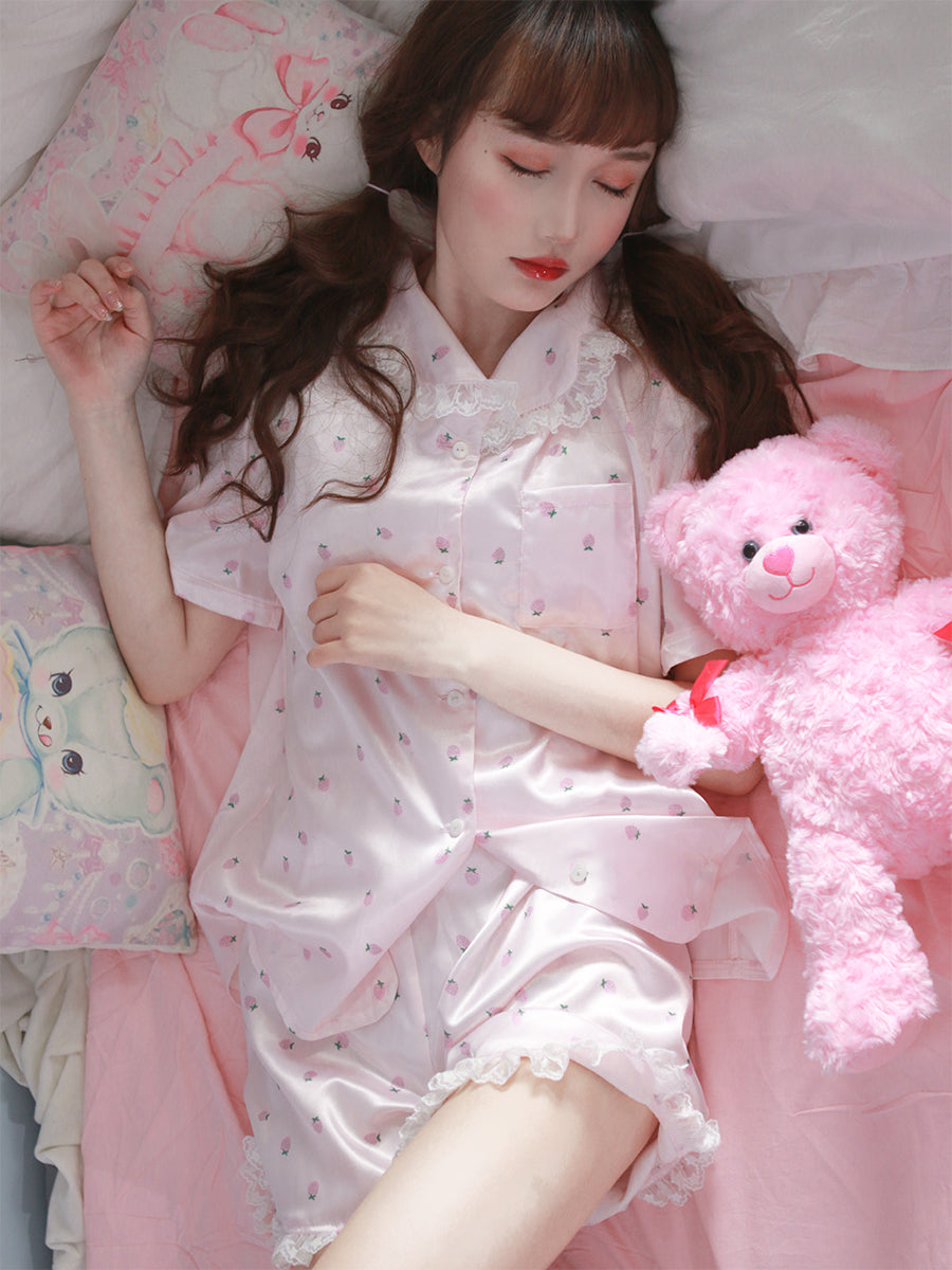 Strawberry dreams lounge wear set - Peiliee Shop