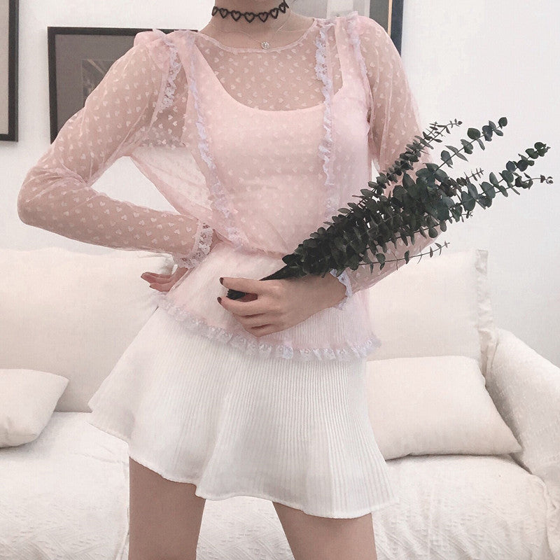 Dear Mystery Heart Lace Yarn Top - Peiliee Shop