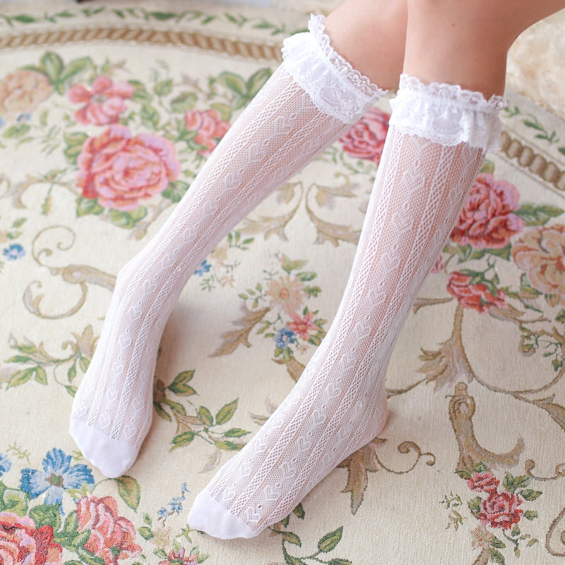 Lolita Dolly Heart Lace Babydoll Below-knee Socks - Peiliee Shop