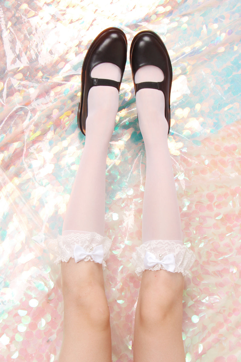Nanami's Sweet Lolita Lace Macrame Cotton Below Knee Socks - Peiliee Shop