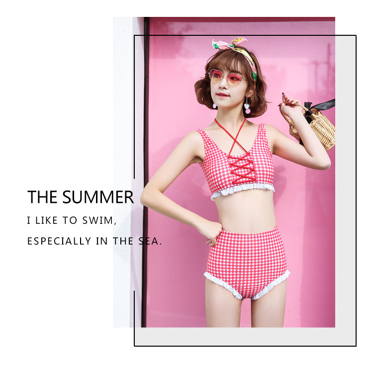 Love Strawberry Bikini Set High Waist - Peiliee Shop
