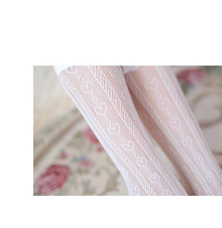 [Basic] Dolly Heart Lace Babydoll Below-knee Socks - Peiliee Shop