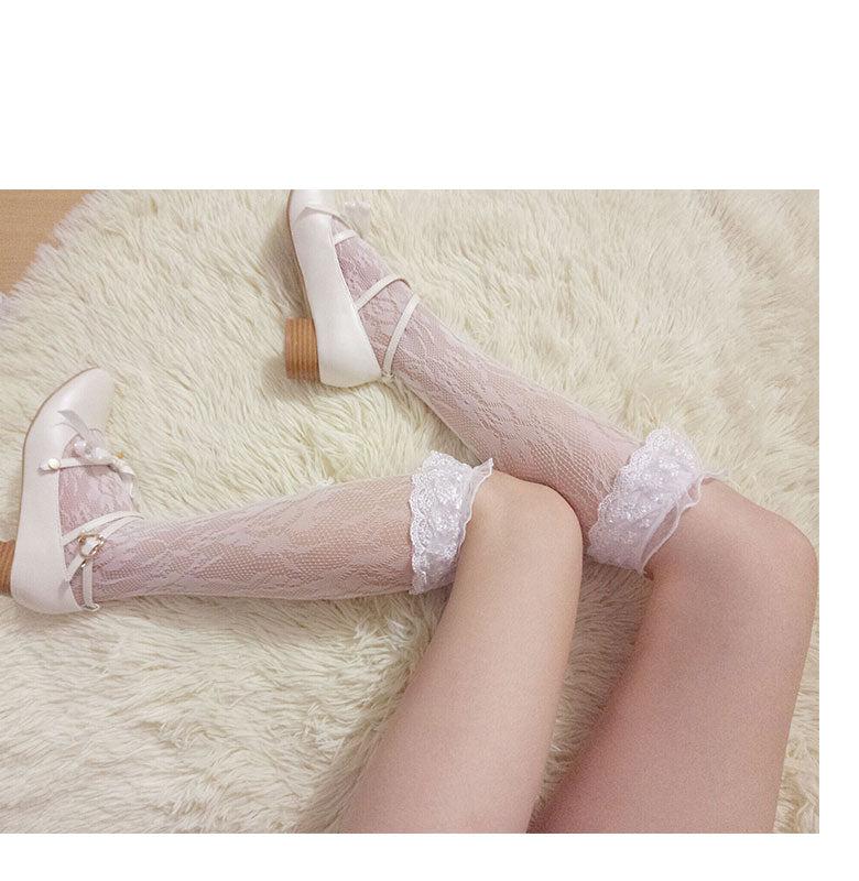 [Basic] Rose Fairy Lace Babydoll Below-knee Socks - Peiliee Shop