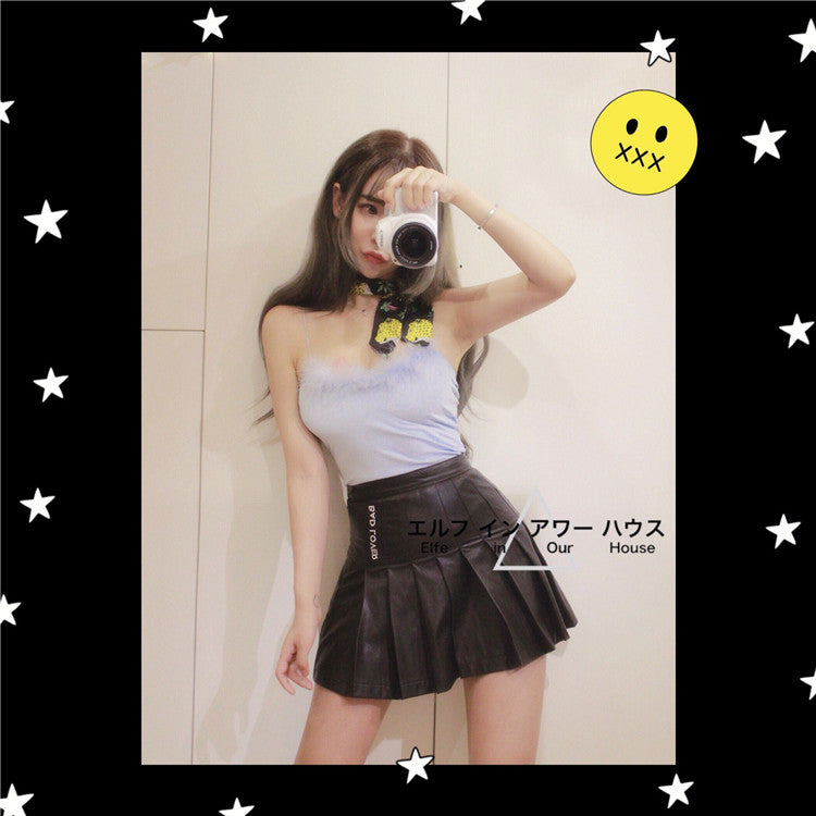 [Peiliee Petite] Bad Lover PU Leather Skirt - Peiliee Shop