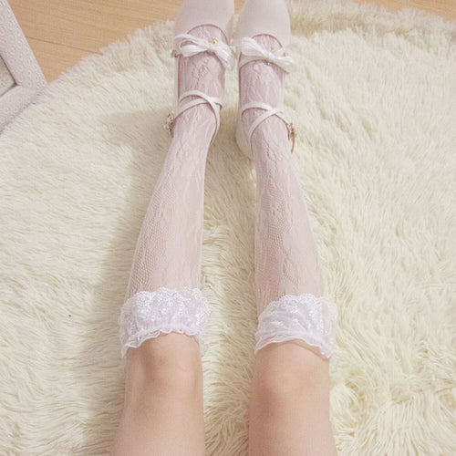 Lolita Flowery Lace Babydoll Below-knee Socks - Peiliee Shop