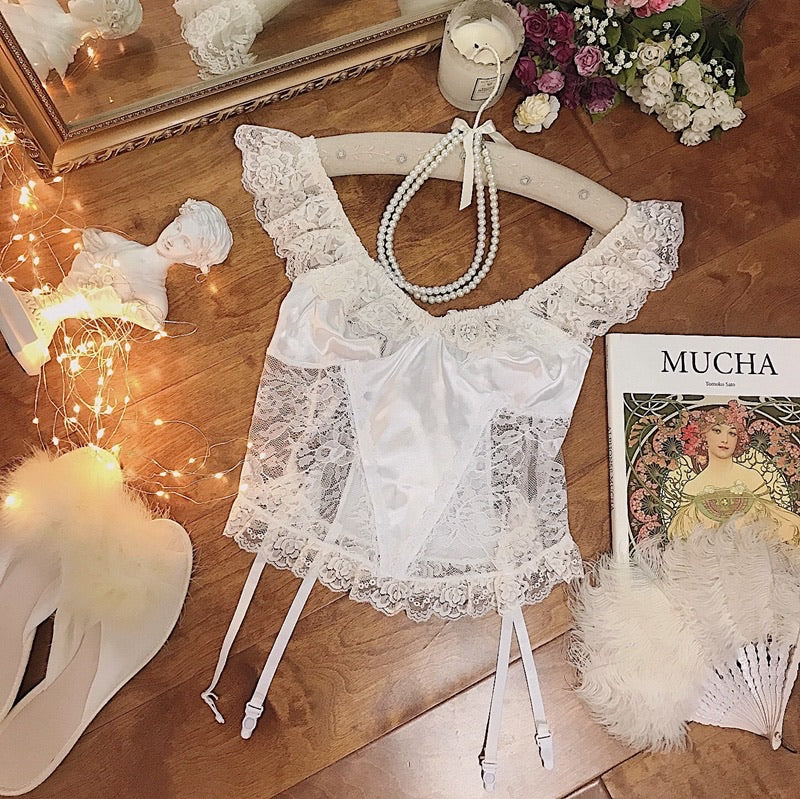A Night In Paris White Vintage Lingerie Body - Peiliee Shop