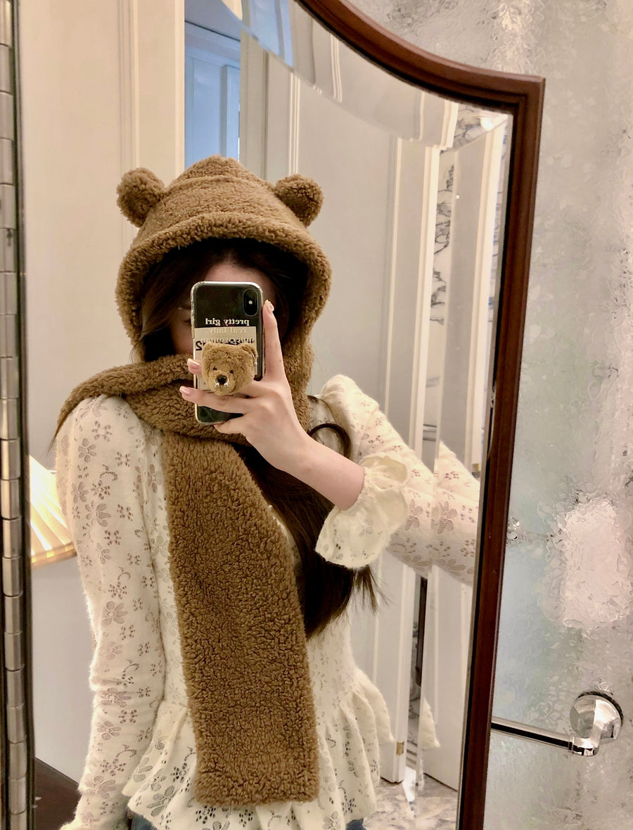 [Basic] Be my bear hat scarf gloves all in one - Peiliee Shop