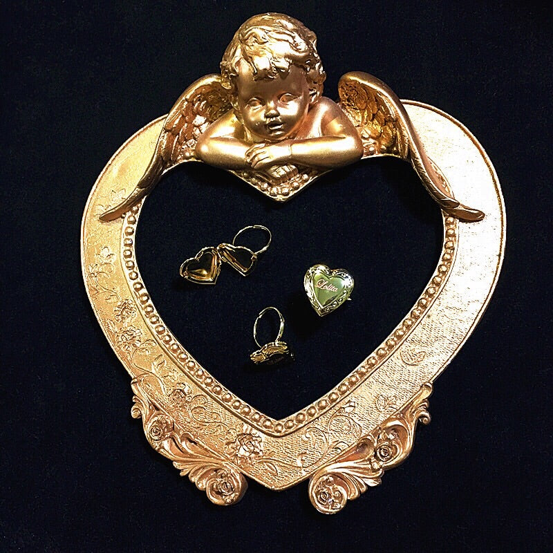 Vintage Lolita Doll Heart Shaped Mini Photo Frame Ring - Peiliee Shop