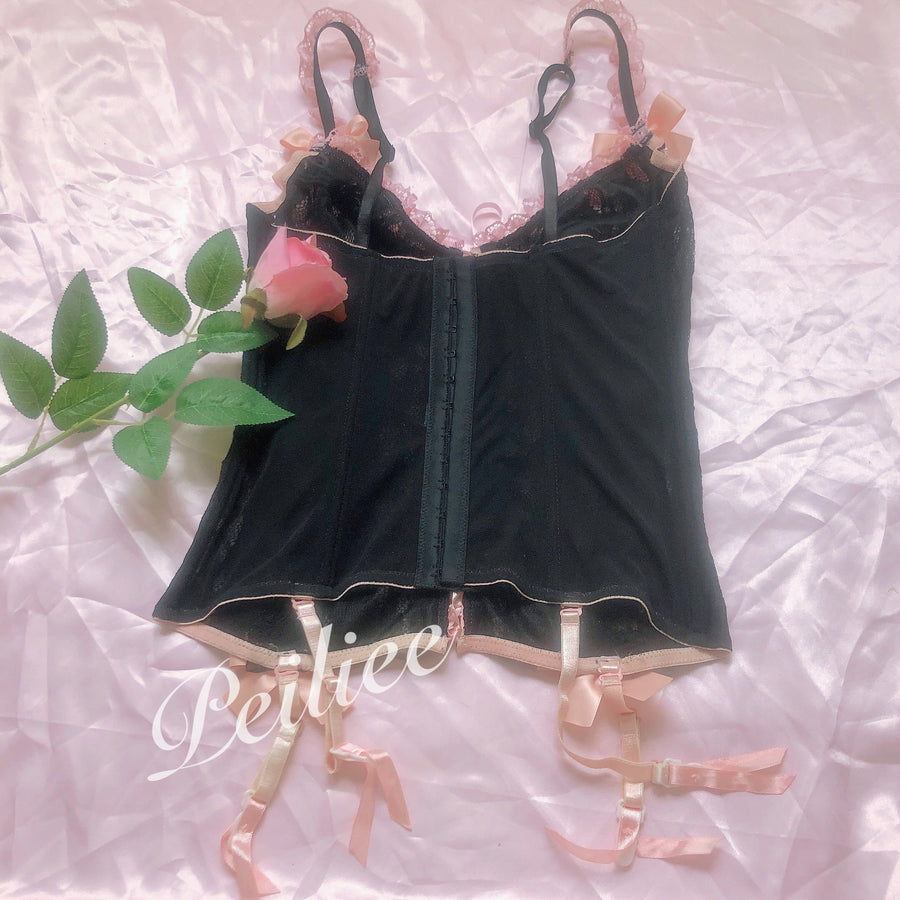 [Only 1 Made] Gothic Doll Pearly Ribbon Corset - Peiliee Shop