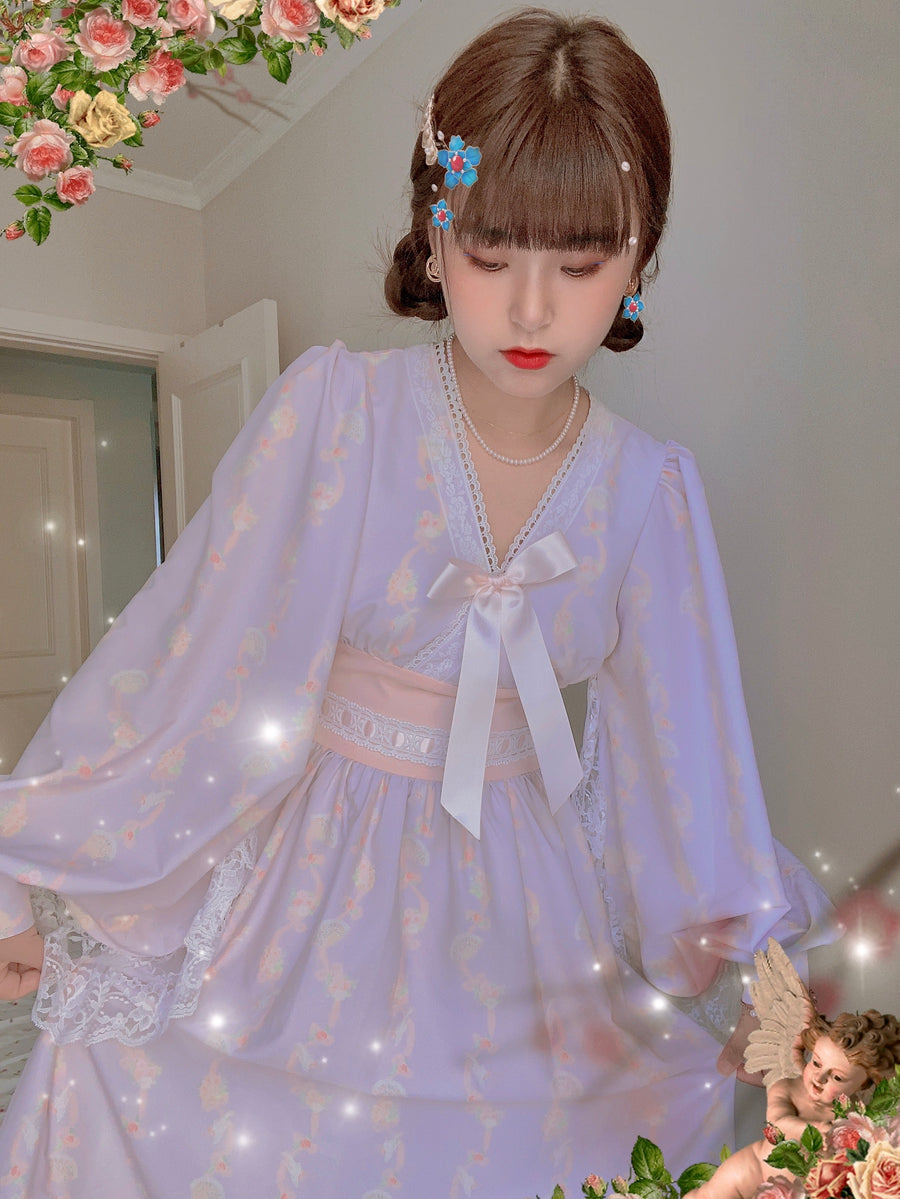 [Premium Selected] Japanese Vintage Showa Shojo Kimono Dress - Peiliee Shop