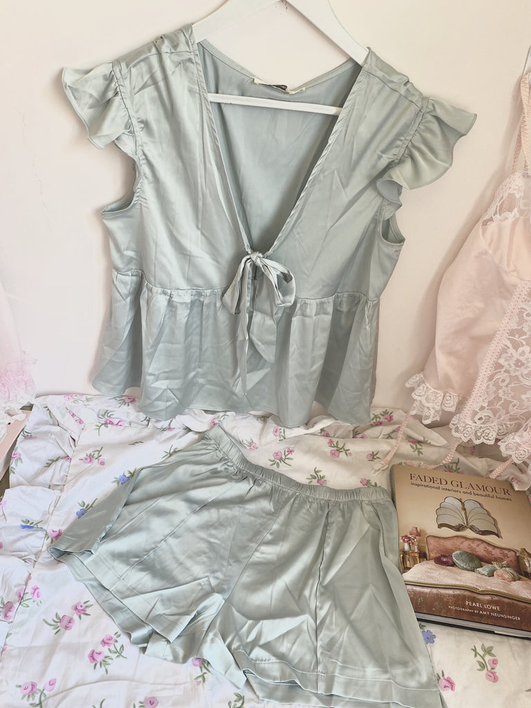 [Basic] Baby Lilac Satin Lounge wear set - Peiliee Shop