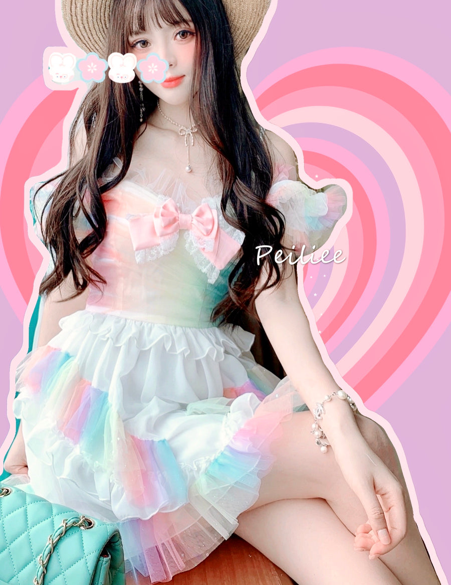 [Available for curve sizes] Rainbow Dream Fairy Princess Dress - Peiliee Shop