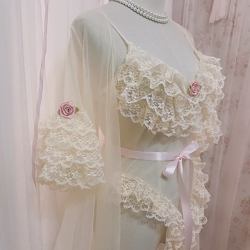 [Premium Selected] Rose Garden Aroma Lace Bodysuit Outer Rope Set - Peiliee Shop