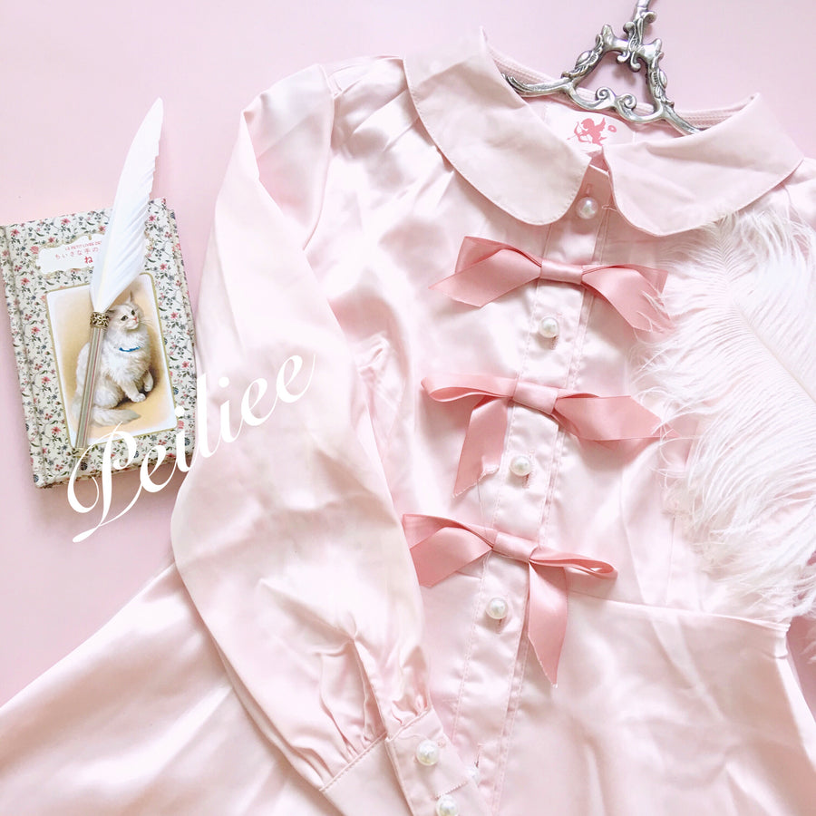 Sweet Little Mystery Ribbon Satin Dress - Peiliee Shop