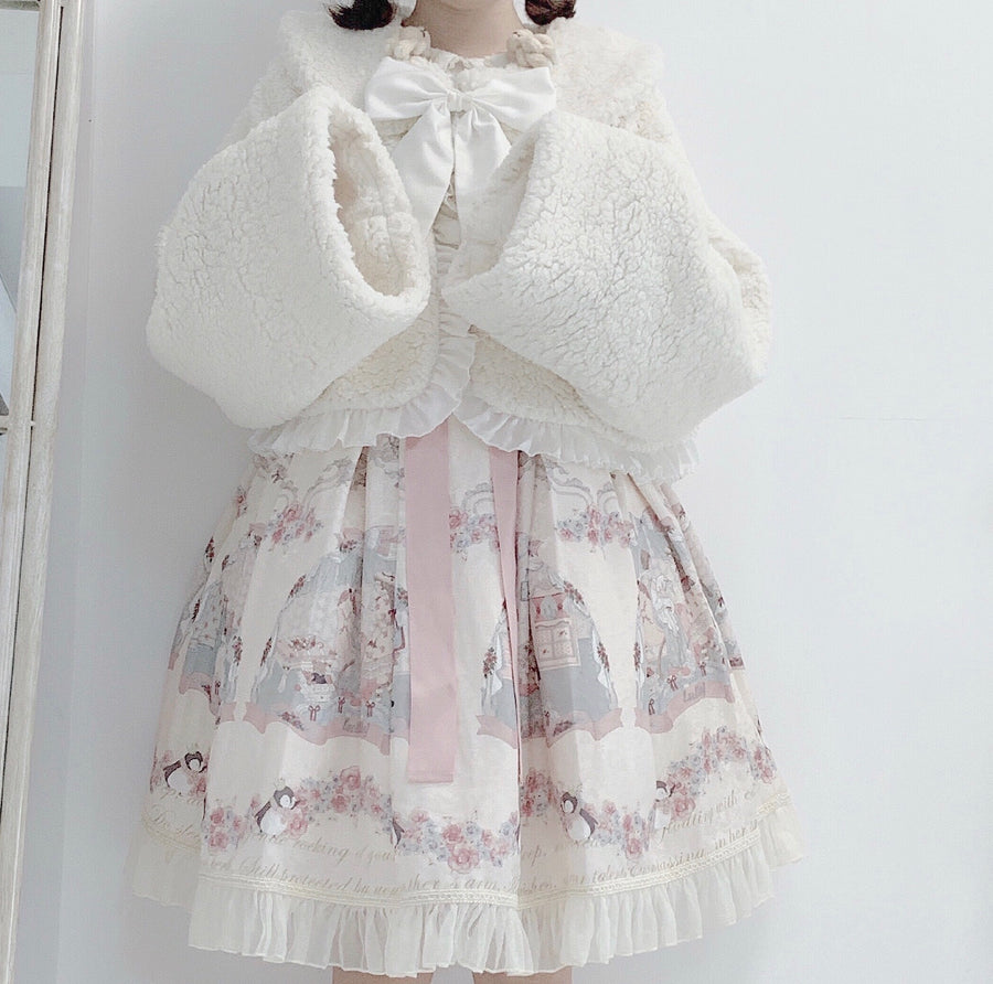 Dolly Sleepy Sheep Faux Fur Outer Coat With Ribbon - Peiliee Shop
