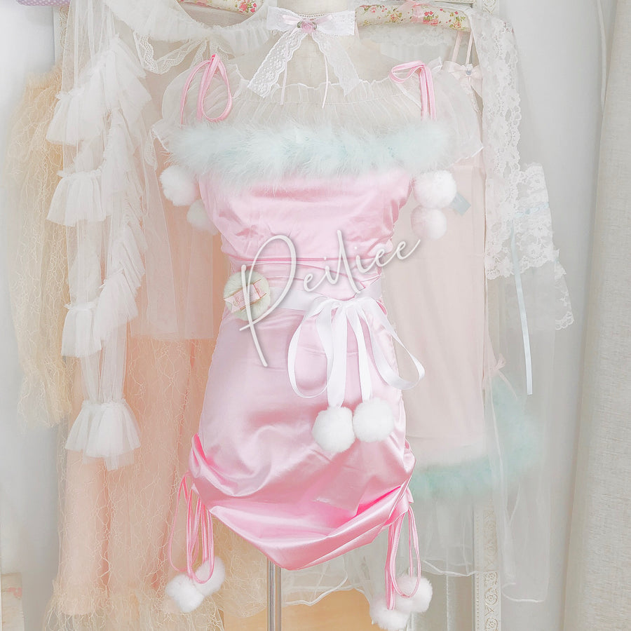[Christmas 2020] Pastel Christmas Satin Lingerie Lounge wear dress - Peiliee Shop