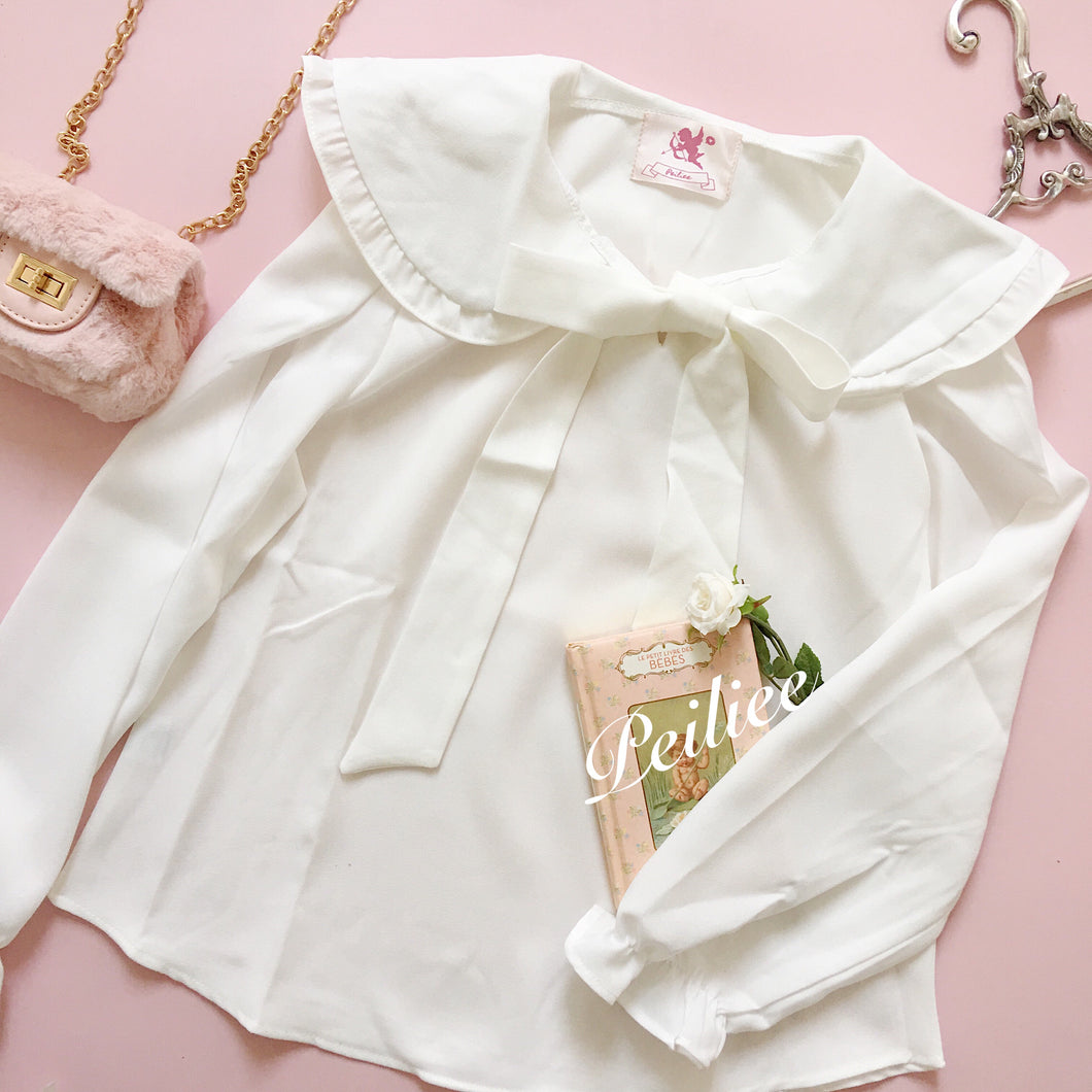 [Made by Peiliee] Sweet Babydoll's Hand Book Oversize Shirt - Peiliee Shop