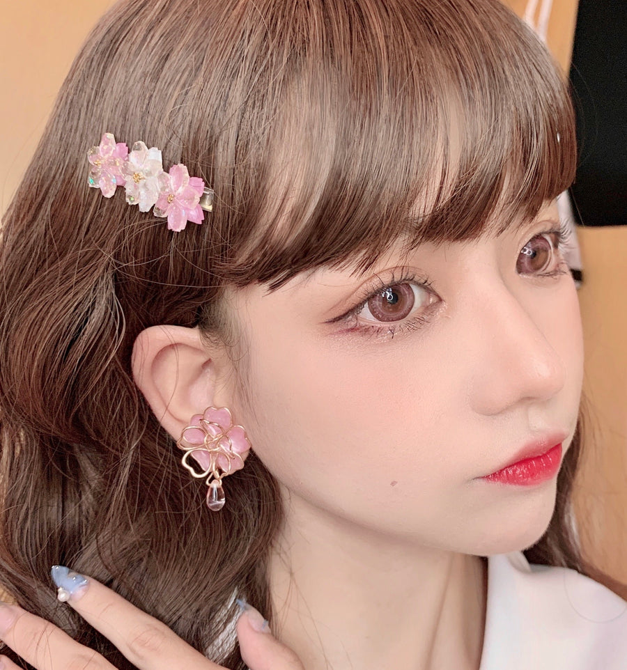 Sakura Rain Fairy Dream Handmade Ring Hairpin Necklace Set - Peiliee Shop