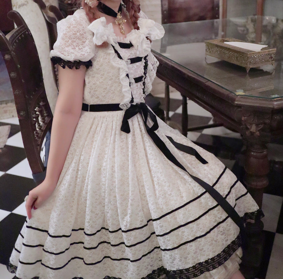 [Premium Selected] Le Flacon Mini Museum Lace Vintage Dress - Peiliee Shop