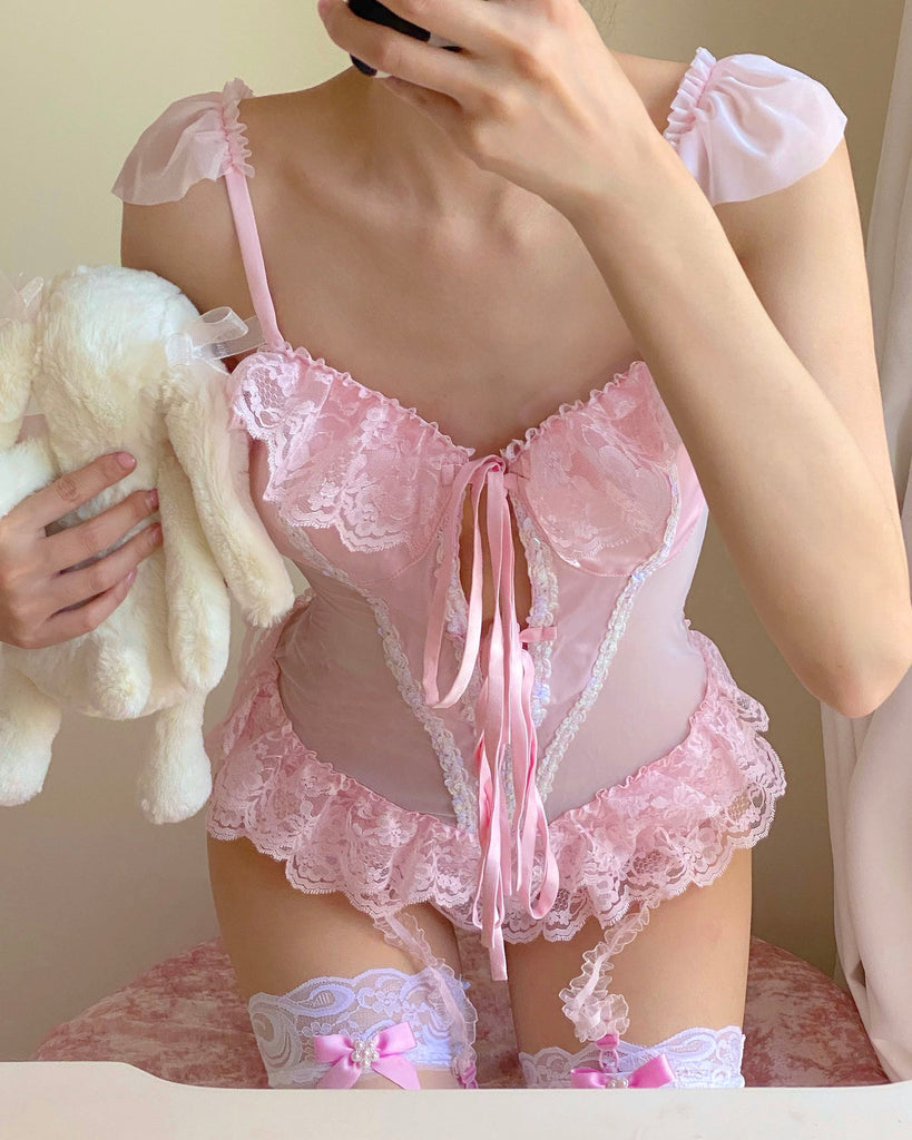 Pastel Doll Pink Body Handmade Lingerie - Peiliee Shop