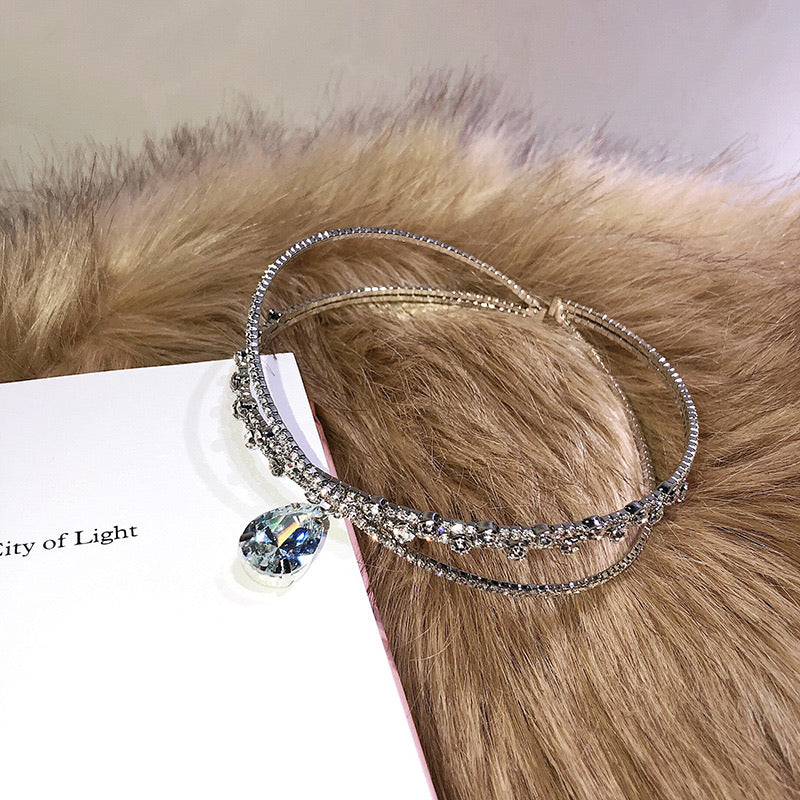 True Princess's Crystal Tear Drop Choker Crown - Peiliee Shop