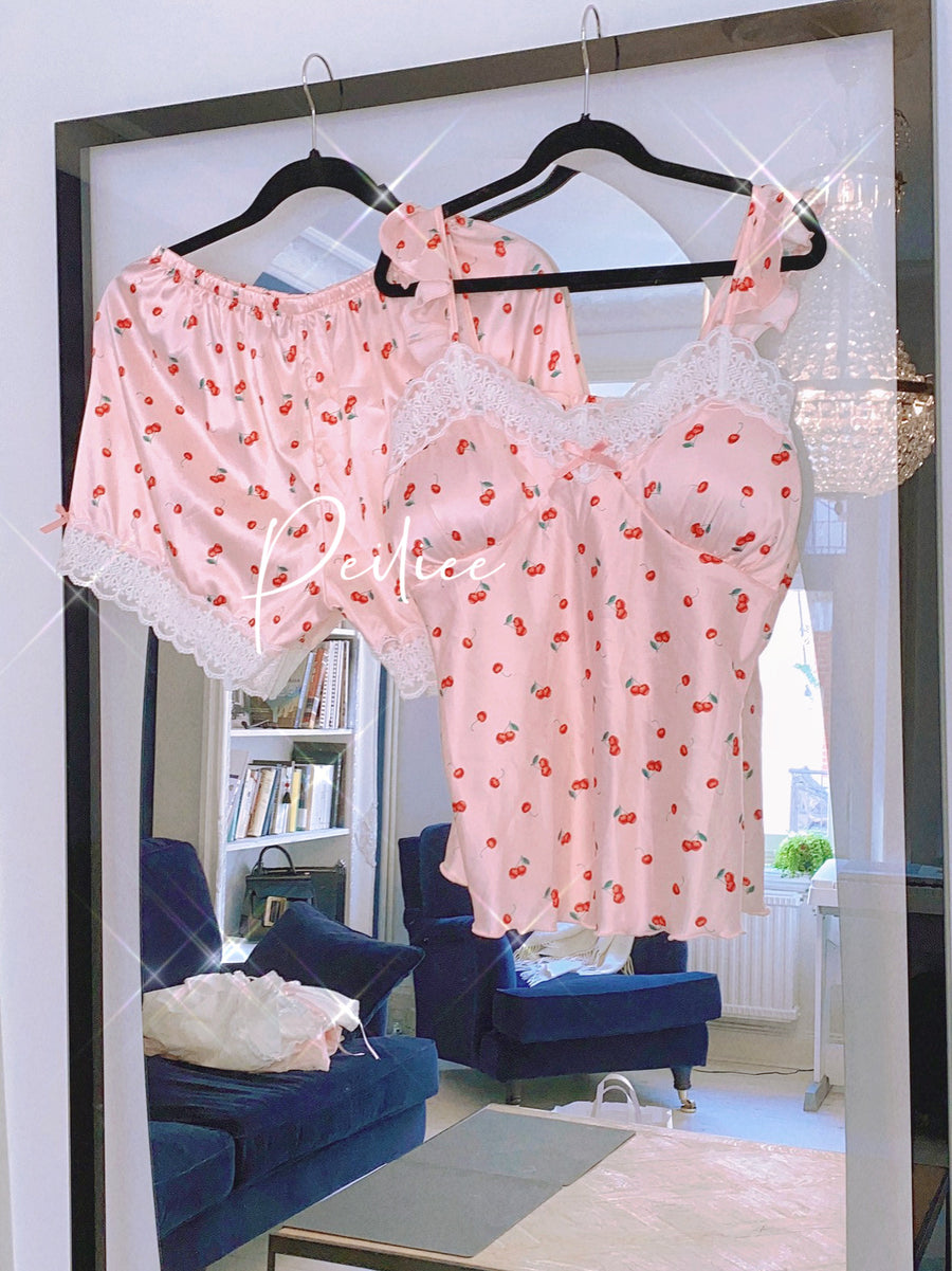 Cherry Night Sleepwear Loungewear set - Peiliee Shop