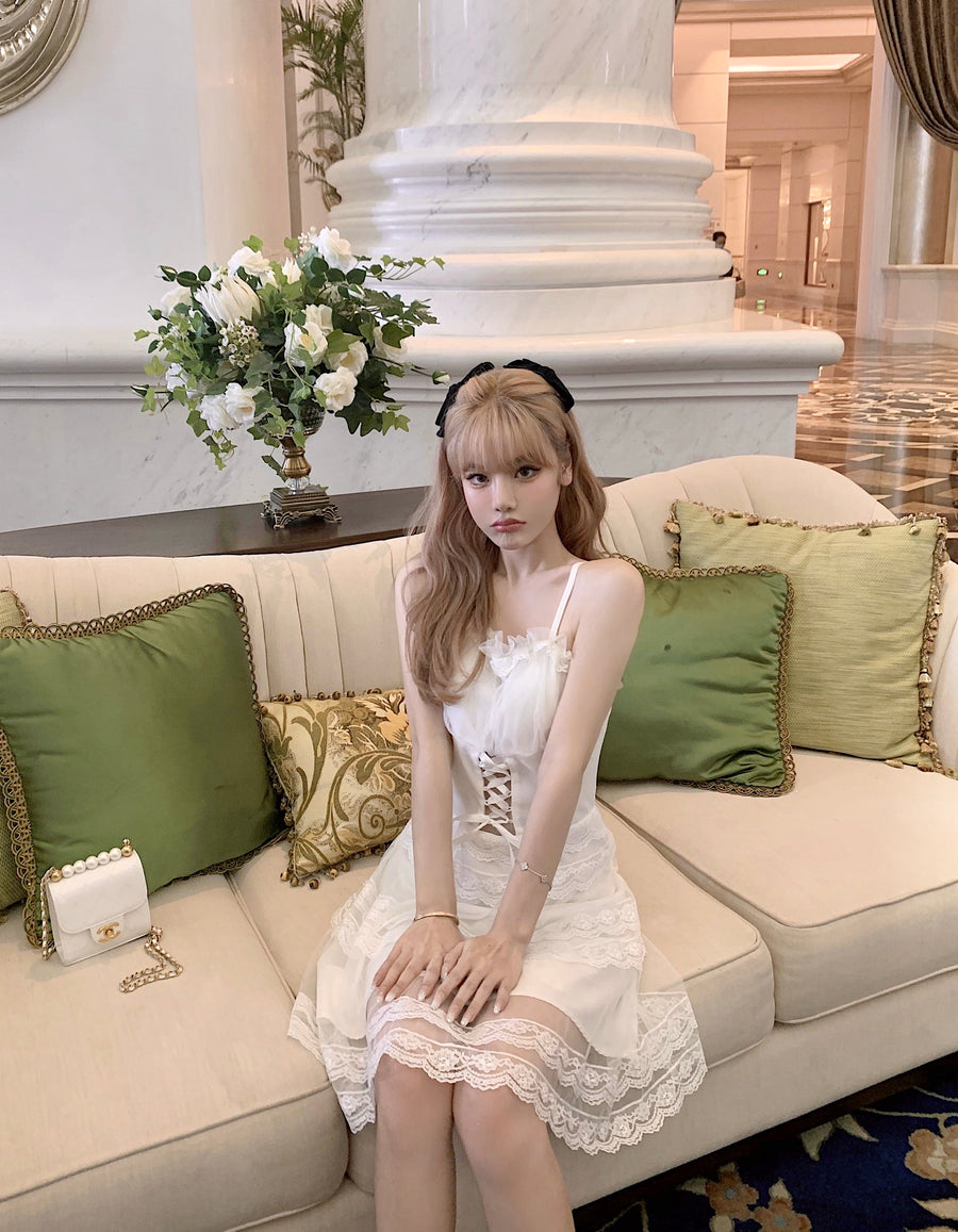 [Premium Selected Brand] Swan Lake Memory Romantic Lace Mini Dress - Peiliee Shop