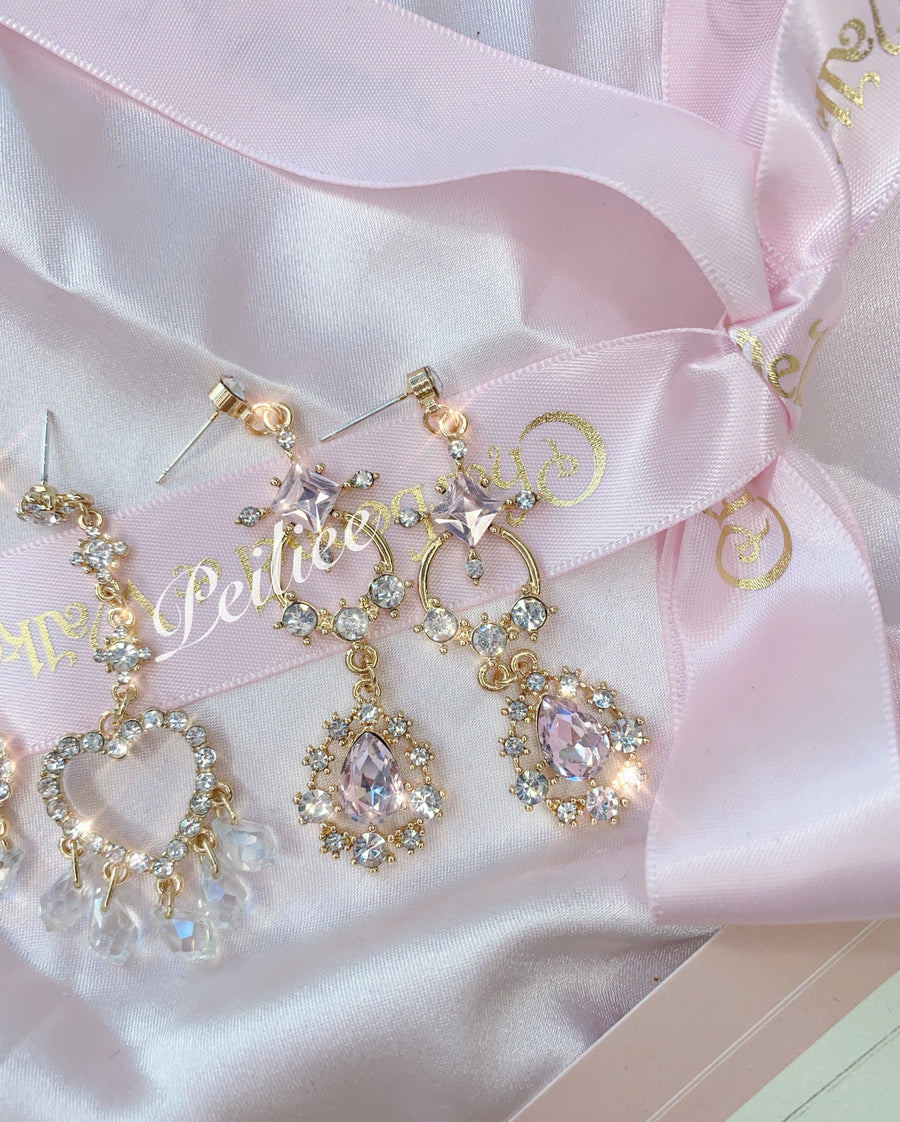 [Basic] Victorian Crystal Heart earring - Peiliee Shop