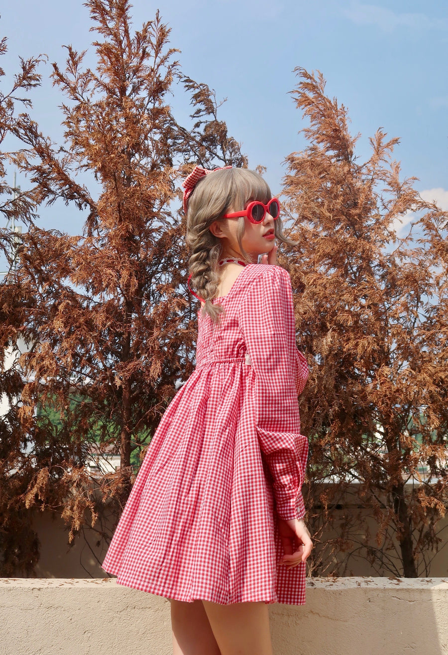 Autumn Morning Mist Gingham Dress - Peiliee Shop