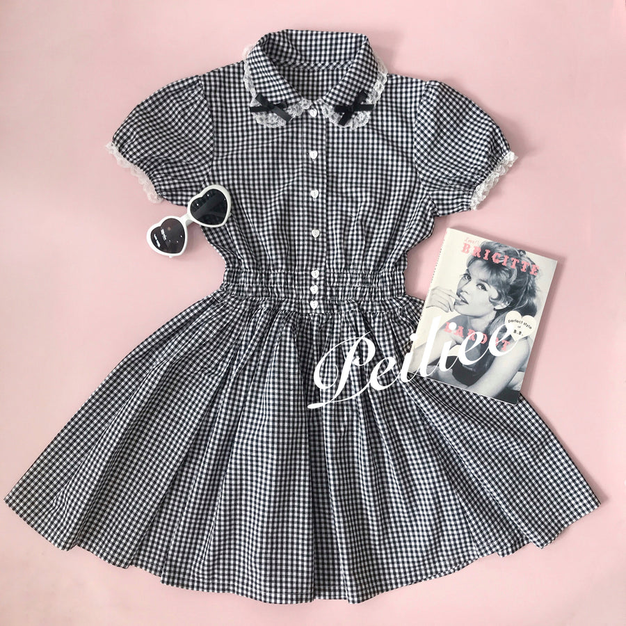 [By Peiliee] Afternoon Tea At Tiffany Gingham Babydoll Mini Dress - Peiliee Shop